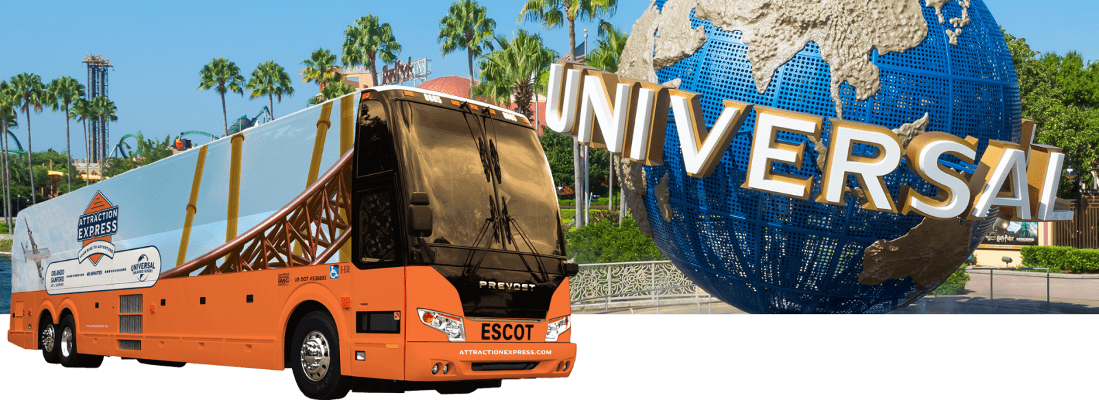 ESCOT Bus Lines Attraction Express Shuttle Bus Service to Universal Studios